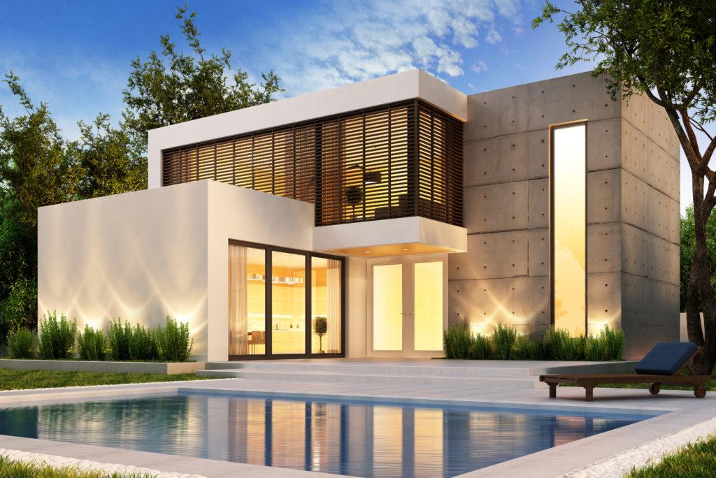 villa avec piscine éclairée
