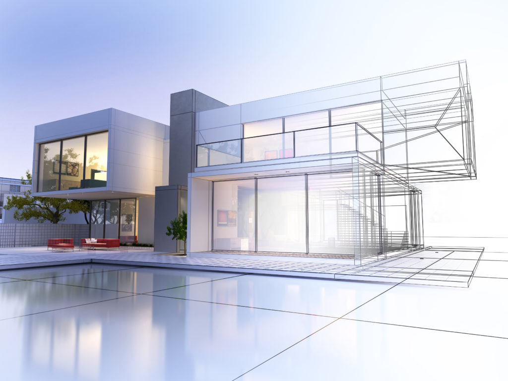 plan 3D de villa moderne avec piscine